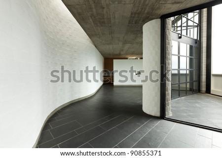 interior modern villa, long passage and balcony - stock photo