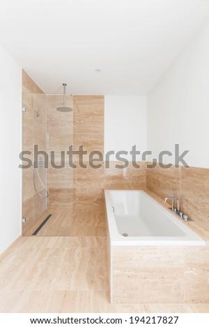 interior new apartment, bathtub and shower of a modern bathroom - stock photo