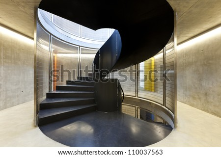 interior new building in cement, iron staircases - stock photo