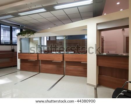 interior of a bank - stock photo