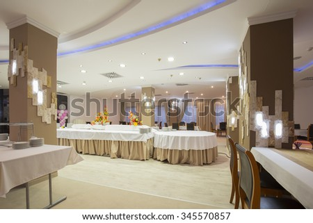 Interior of a banquet hall - stock photo