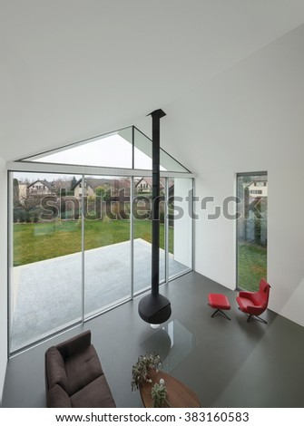 Interior of a beautiful modern house, living room, top view - stock photo
