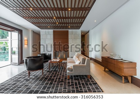 Interior of a bright living room - stock photo