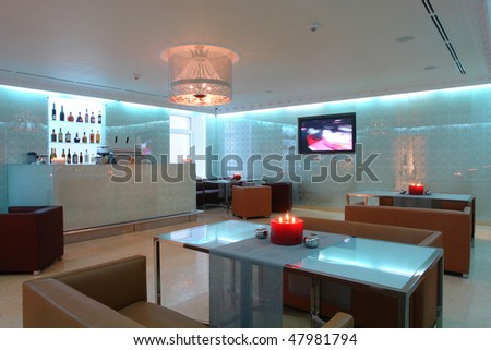 interior of a cafe with wide hall - stock photo