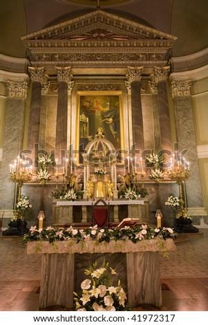 Interior of a catholic church - stock photo