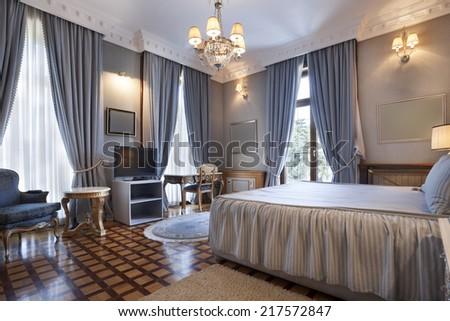 Interior of a classic style bedroom in luxury villa  - stock photo