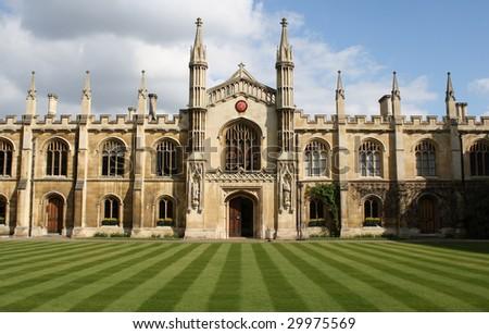 Interior of a college in the university of Cambridge - stock photo