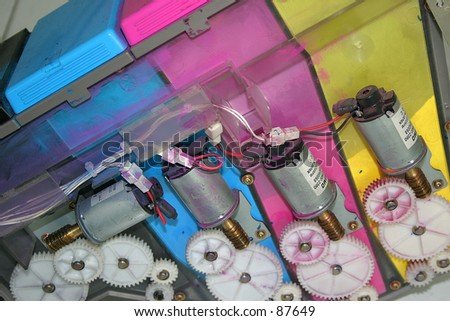 Interior of a color photocopy machine - stock photo