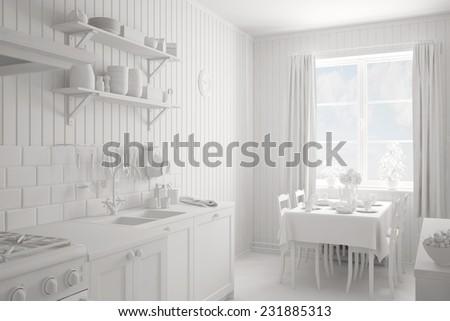 Interior of a completely white kitchen with table and chairs (3D Rendering) - stock photo
