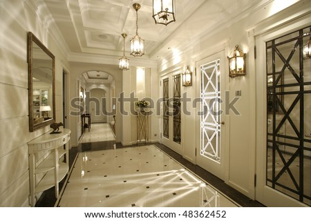 interior of a corridor in house filled in with light - stock photo