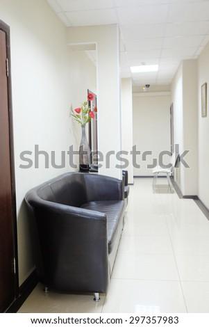 Interior of a dark corridor - stock photo