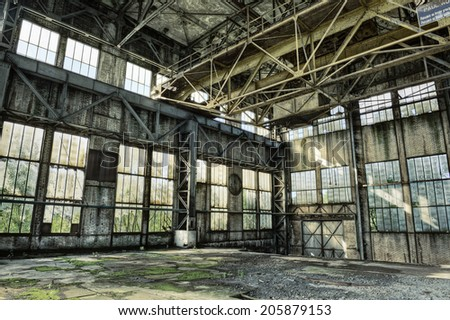 Interior of a derelict industrial building, HDR - stock photo