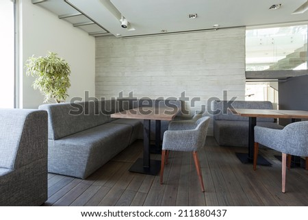 Interior of a floating restaurant - stock photo
