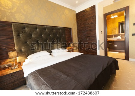 Interior of a hotel bedroom - stock photo