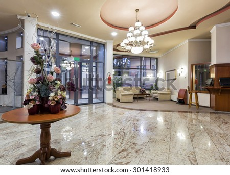 Interior of a hotel - entrance area - stock photo