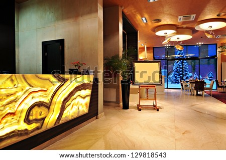 Interior of a hotel reception - stock photo