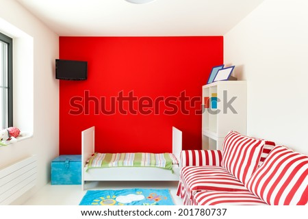 interior of a house, nice children's bedroom - stock photo