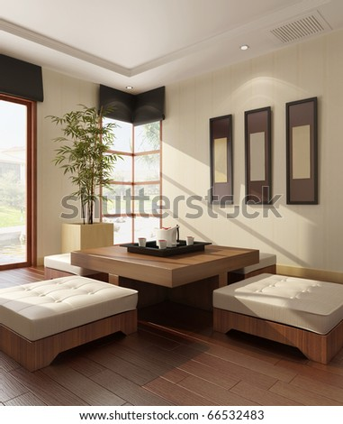 Interior of a living-room 3D rendering - stock photo