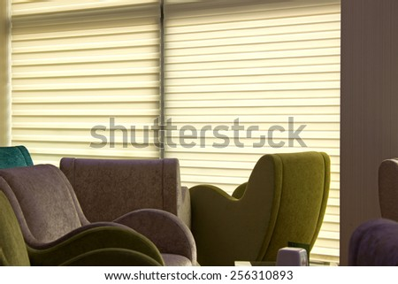 Interior of a living room with sofas. - stock photo