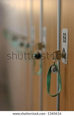 interior of a locker room - stock photo