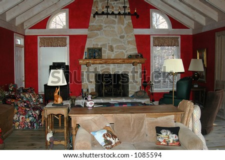 Interior of a log cabin - stock photo