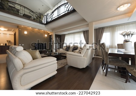 Interior of a luxury multilevel living room - stock photo