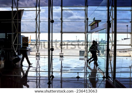 Interior of a modern airport. Spain - stock photo