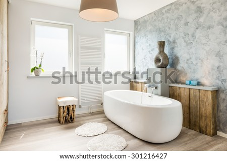 Interior of a modern bathroom with seperate bath - stock photo