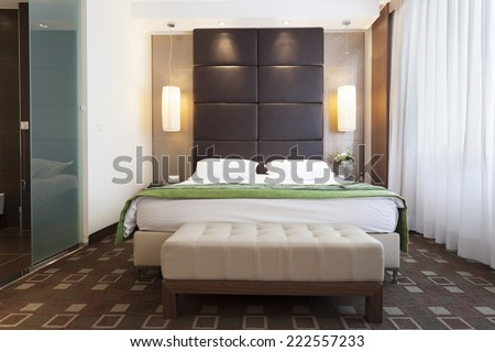 Interior of a modern bedroom  - stock photo