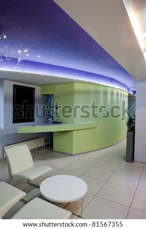Interior of a modern hair salon - reception - stock photo
