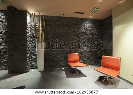 Interior of a modern hotel spa center waiting room - stock photo