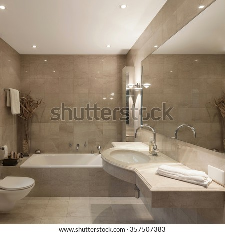 Interior of a modern house, bathroom, classic design - stock photo