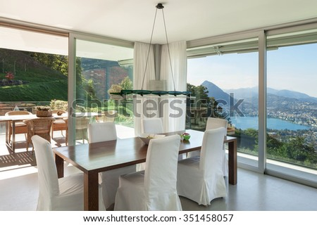 Interior of a modern house, nice dining room  - stock photo