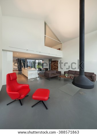Interior of a modern house, wide open space - stock photo