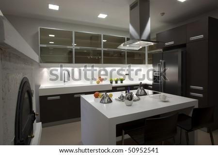interior of a modern kitchen - stock photo