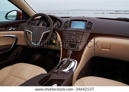 Interior of a modern luxury car - stock photo