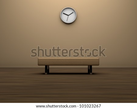 Interior of a modern room with a seat and a clock on the wall - stock photo