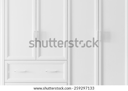 Interior of a new empty house with wardrobe and drawer, dressing room - stock photo