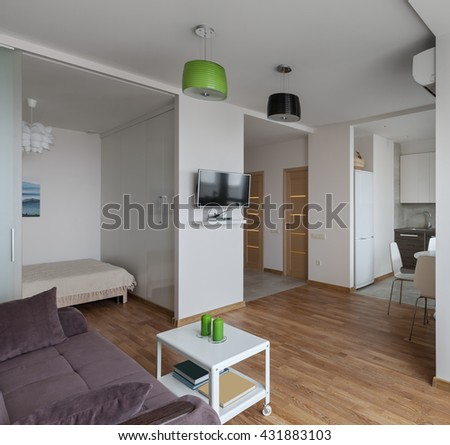 Interior of a new modern apartment in scandinavian style - stock photo