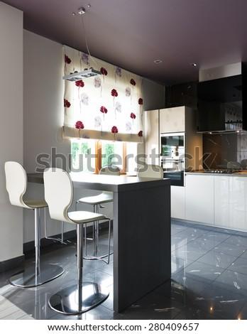 Interior of a new modern luxury kitchen - stock photo