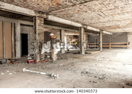 Interior of a repaired house, construction site - stock photo