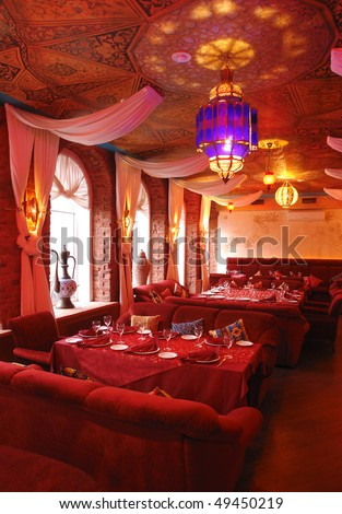 interior of a restaurant in red color - stock photo
