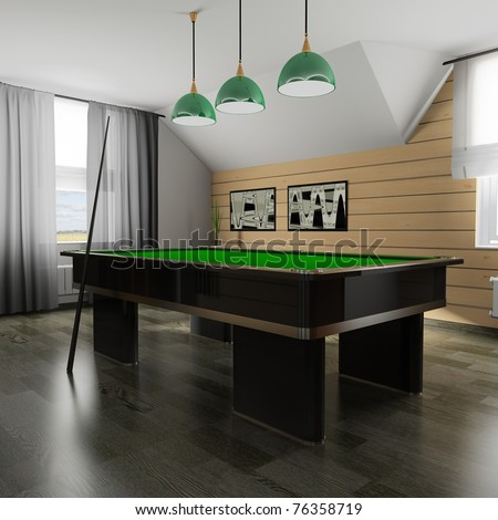 Interior of a room for game in billiards (3d rendering) - stock photo