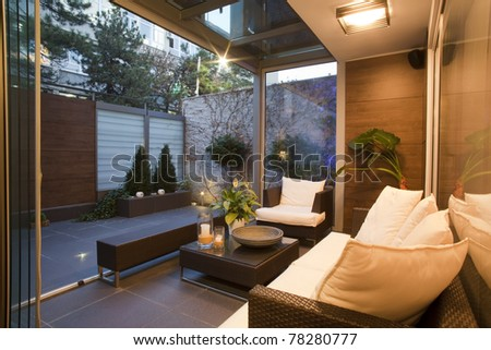 Interior of a room for relaxation - stock photo