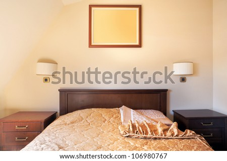 Interior of a room for two in a hotel, apartment's bedroom. - stock photo