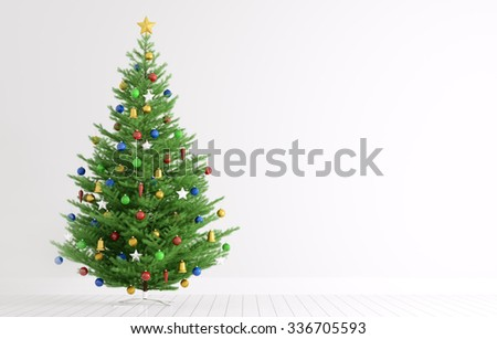 Interior of a room with christmas tree over white wall 3d rendering - stock photo