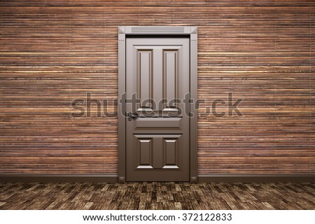 Interior of a room with classic brown door over wood paneling 3d rendering - stock photo