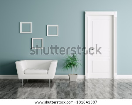 Interior of a room with door and armchair  - stock photo