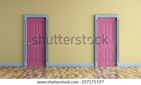 Interior of a room with two classic doors 3d render - stock photo