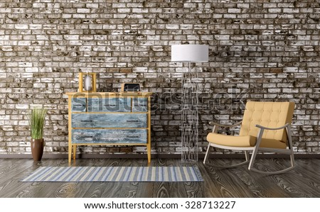 Interior of a room with vintage chest of drawers and rocking chair 3d render - stock photo